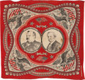 Political:Textile Display (pre-1896), Cleveland & Hendricks: Jugate Turkey-Red Bandanna. ...