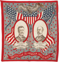 Political:Textile Display (1896-present), Roosevelt & Fairbanks: Star-Spangled Jugate Bandanna....