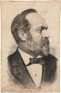 Political:Textile Display (pre-1896), James A. Garfield: Large Linen Campaign Banner....