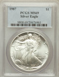 Modern Bullion Coins: , 1987 $1 Silver Eagle MS69 PCGS. PCGS Population (5923/10). NGCCensus: (83155/273). Mintage: 11,442,335. Numismedia Wsl. Pr...