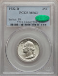 Washington Quarters, 1932-D 25C MS63 PCGS. CAC....