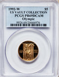 Modern Issues, 1992-W G$5 Olympic Gold Five Dollar PR69 Deep Cameo PCGS. Ex: USVault Collection. PCGS Population (2904/289). NGC Census: ...