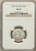 Modern Bullion Coins, 2007-W $25 Quarter-Ounce Platinum Eagle MS70 NGC. NGC Census: (0).PCGS Population (170). Numismedia Wsl. Price for proble...