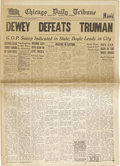 """Political:3D & Other Display (1896-present), Truman & Dewey: A Fine Example of the Famous """"Dewey Defeats Truman"""" Jump to Conclusions by the Chicago Tribune. ..."""