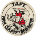 Political:Pinback Buttons (1896-present), William Howard Taft: A Wonderful 1908 Cartoon-Style Campaign Button. ...