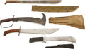 Edged Weapons:Knives, Lot of Four Various U.S. Military Survival Knifes, Machete and 1909 Bolo Knife.... (Total: 4 Items)