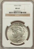 Peace Dollars: , 1926-D $1 MS62 NGC. NGC Census: (342/2236). PCGS Population(712/3628). Mintage: 2,348,700. Numismedia Wsl. Price for probl...