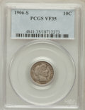 Barber Dimes: , 1906-S 10C VF35 PCGS. PCGS Population (1/116). NGC Census: (1/104).Mintage: 3,136,640. Numismedia Wsl. Price for problem f...