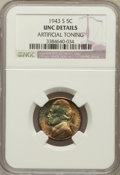 Jefferson Nickels: , 1943-S 5C -- Artificial Toning -- NGC Details. UNC. NGC Census:(0/4013). PCGS Population (0/3273). Mintage: 104,060,000. N...