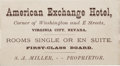 Transportation:Railroad, Virginia City, Nevada: An Extremely Rare 1877-dated Business Cardwith Schedule of Virginia & Truckee Railroad on Verso. ...
