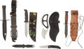 "Edged Weapons:Knives, Group of Six Fighting Knives, including: N9 LANCAY bayonet/survival knife in sheath; 9.5"" survival knife with leather grip i... (Total: 6 Items)"