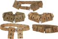Militaria:Uniforms, Five United States Army Pistol/Equipment Belts with Assorted Pouches, World War II or earlier.... (Total: 5 Items)
