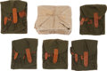 Militaria:Uniforms, Ten AK-47 Magazine Pouches, olive drab canvas with leather tabs. Five pouches still in original paper wrapper.... (Total: 10 Items)