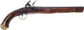 Handguns:Muzzle loading, Full Curly Maple Stocked American, Likely Pennsylvania, OriginalFlintlock Pistol With Credible Provenance That It Was Owned B...