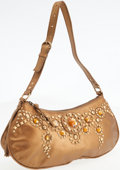 Luxury Accessories:Bags, Miu Miu Metallic Gold Leather Shoulder Bag with Grommet andCabochon Details. ...