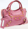 Luxury Accessories:Bags, Balencaiga Pink Leather Classic City Bag with Giant Gold Hardware....
