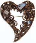 Luxury Accessories:Accessories, Christian Lacroix Gold Heart Pin with Cameo and Mother of Pearl....