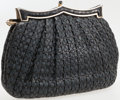 Luxury Accessories:Bags, Judith Leiber Black and Navy Woven Leather Clutch with ShoulderStrap. ...