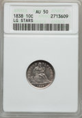 Seated Dimes: , 1838 10C Large Stars AU50 ANACS. NGC Census: (2/309). PCGSPopulation (6/266). Mintage: 1,992,500. Numismedia Wsl. Price fo...