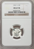Mercury Dimes: , 1941-S 10C MS67 Full Bands NGC. NGC Census: (328/6). PCGSPopulation (287/5). Mintage: 43,090,000. Numismedia Wsl. Pricefo...