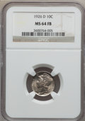 Mercury Dimes: , 1926-D 10C MS64 Full Bands NGC. NGC Census: (89/53). PCGSPopulation (165/105). Mintage: 6,828,000. Numismedia Wsl. Pricef...