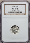 Mercury Dimes: , 1936-D 10C MS67 Full Bands NGC. NGC Census: (30/1). PCGS Population(100/9). Mintage: 16,132,000. Numismedia Wsl. Price for...