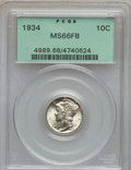 Mercury Dimes: , 1934 10C MS66 Full Bands PCGS. PCGS Population (395/189). NGCCensus: (149/68). Mintage: 24,080,000. Numismedia Wsl. Price ...