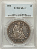 Seated Dollars: , 1846 $1 XF45 PCGS. PCGS Population (97/297). NGC Census: (59/293).Mintage: 110,600. Numismedia Wsl. Price for problem free...