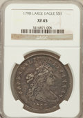 Early Dollars: , 1798 $1 Large Eagle, Pointed 9 XF45 NGC. NGC Census: (201/326).PCGS Population (147/204). Mintage: 327,536. Numismedia Wsl...