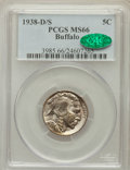 Buffalo Nickels: , 1938-D/S 5C MS66 PCGS. CAC. PCGS Population (1498/181). NGC Census:(846/68). Mintage: 7,020,000. Numismedia Wsl. Price for...