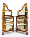 Furniture : Continental, A PAIR OF RUSSIAN NEOCLASSICAL-STYLE MAHOGANY, GILT BRONZE AND MIRROR CORNER CABINETS. Maker unknown, Russian, circa 1875. 3...