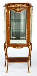 Furniture : French, A LOUIS XV-STYLE GILT BRONZE MOUNTED VITRINE CABINET . Makerunknown, France, circa 1900. 65-3/4 x 27-3/4 x 16 inches (167.0...