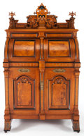 Furniture , A WOOTEN AMERICAN RENAISSANCE REVIVAL WALNUT PATENT DESK: WOOTEN EXTRA GRADE . Wooten Desk Company, Indianapolis, In...