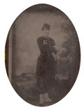 Photography:Tintypes, Quarter Plate Early War Tintype Of A Federal Zouave In Mint FiguralThermoplastic Case....