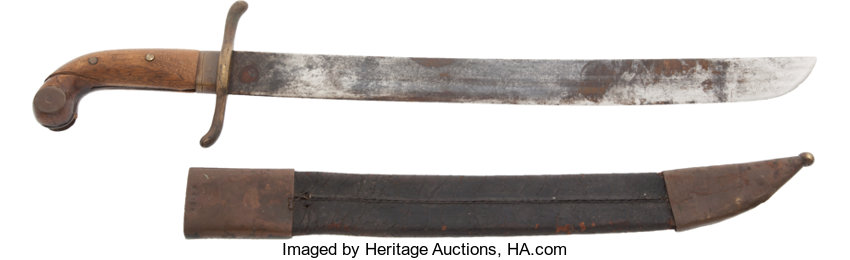 Unidentified Late 19th Century Short Sword and Scabbard     Edged
