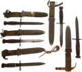 "Edged Weapons:Bayonets, Lot of Five U.S. M4 Carbine Bayonets. All examples with 6½""Parkerized blades, leather handles, and M8 scabbards (one M8A1)....(Total: 5 Items)"