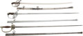 Edged Weapons:Swords, Lot of Three Military Swords: European Infantry Officer's SmallSword and Two Half-Basket European Officers' Swords Reminiscen...(Total: 3 Items)