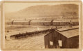 Photography:CDVs, Interior Carte-De-Visite View of Camp Elmira New York Prisoner Of War Camp With Federal Garrison In Formation....