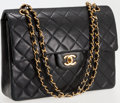Luxury Accessories:Bags, Chanel Black Lambskin Leather Square Double Flap Turnlock ShoulderBag. ...