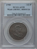 Colonials, 1795 1/2P Washington Liberty & Security Halfpenny, BIRMINGHAMEdge AU55 PCGS. Baker-31B, W-11010, R.5....