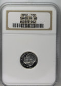 Proof Roosevelt Dimes: , 1952 10C PR68 Cameo NGC. Starkly contrasted on the obverse withsubtle contrast between the fields and devices on the rever...