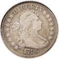 Early Quarters: , 1796 25C VF25 PCGS. High 6. B-2, R.3. The first year of issue witha total mintage of 6,146 coins, all minted between April...