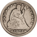 Seated Quarters: , 1873-CC 25C Arrows VG10 PCGS. A rose-gray Carson City quarter thathas evenly worn design elements. A noticeable pinscratch...