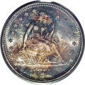 Seated Quarters: , 1876-S 25C MS66 PCGS. Type Two Reverse. An original specimen, thiscoin carries a blanket of gorgeous variegated toning tha...