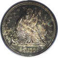 Seated Quarters: , 1877-S 25C MS66 PCGS. Ocean-blue, forest-green, and gold swathsdominate the obverse, and the reverse is fully patinated ch...