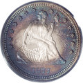 Proof Seated Quarters: , 1877 25C PR66 PCGS. Dusky gray and rose toning in the centers givesway to an array of crimson, indigo, and olive around th...