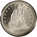 Proof Seated Quarters: , 1882 25C PR66 Cameo PCGS. Of the 16,300 quarters struck in thisyear, only 1,100 were proofs. The fields are deeply reflect...