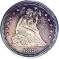 Proof Seated Quarters: , 1889 25C PR66 Cameo PCGS. Beautiful luster emanates from beneaththe moderate indigo-blue patination that covers both sides...