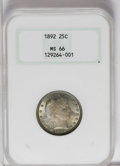 Barber Quarters: , 1892 25C MS66 NGC. Type One Reverse. The first year of issue ofthis popular Charles Barber-designed coinage. Despite its h...