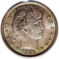 Barber Quarters: , 1897 25C MS66 PCGS. Ocean-blue, silver-gray, and lilac patinaembraces this pinpoint-sharp and lustrous Premium Gem. The fi...